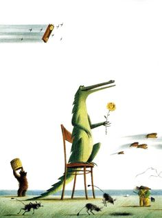 "Sergei Kovalenkov illustration for ""Colourful tales"". Illustration Children, Book Illustration, Crocodile Rock, Alligators, Reptiles And Amphibians, Crocs, Character Design, Cute Animals, Creations"