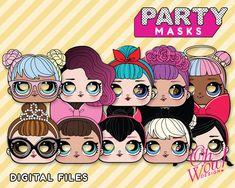 Lol Surprise Doll Inspired Masks: digital file Perfect for photo booth props and LOL Surprise Party favors LOL Surprise Dolls Party Ideas
