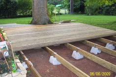 Floating Deck Ideas They sell the supports at Lowes and Home Depot fairly cheap. Boardwalk patio under cherry tree Backyard Projects, Outdoor Projects, Backyard Patio, Pallet Patio Decks, Wood Patio, Patio Roof, Outside Living, Outdoor Living, Outdoor Gardens