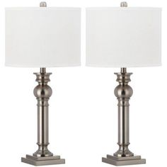 Safavieh Argos Column Table Lamp with CFL Bulb, Nickel with Off-White Shade, Set of 2, Silver