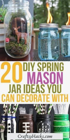 Try these DIY mason jar crafts and make your very own spring decorations. There is nothing better than bringing some light and color into your life to diy crafts. #easymasonjar #masonjardecor #masonjarideas