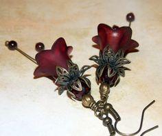 Lucite Flower Earrings 'Cranberry' by EnglishVintageDesign on Etsy Garnet Earrings, Red Earrings, Unique Earrings, Vintage Earrings, Beaded Earrings, Etsy Earrings, Lucite Flower Earrings, Christmas Earrings, Silver Flowers