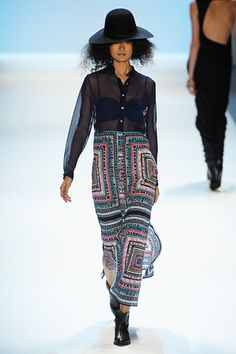 mara hoffman-tribal maxi and sheer top! super cute and that hat is perfect