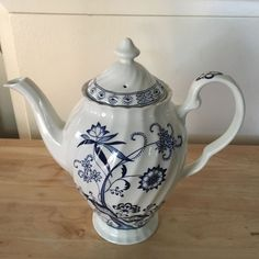 Johnson Brothers Blue Nordic Coffee Pot with Lid Made in England Ironstone #JohnsonBrothers
