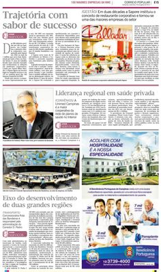 Título: Trajetória com sabor de sucesso; Veículo: jornal Correio Popular; Data: 30/08/2013; Cliente: Sapore.