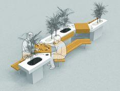 Public seating street furniture Ideas – Famous Last Words Architecture Design Concept, Architecture Durable, Plans Architecture, Pavilion Architecture, Sustainable Architecture, Ancient Architecture, Residential Architecture, Contemporary Architecture, Michelangelo Architecture