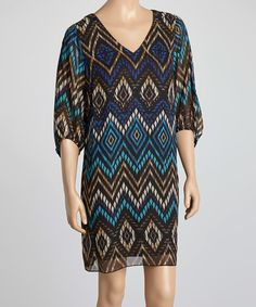 Loving this Black & Turquoise Abstract Shift Dress on #zulily! #zulilyfinds  14.99