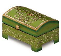 Impressions in #Green – #Buy #Wholesale #Handmade #HandPainted #Green #Wooden #JewelryBox / #TreasureChest / #KeepsakeBox - Decorative Floral Gift Storage Box – Loving & Romantic Gifts
