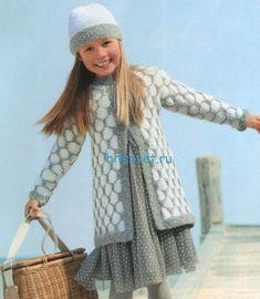 Вязание для девочки жакета и шапочки со схемой
