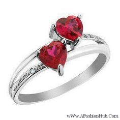 Created Ruby Double Heart Ring with Diamonds Carat (ctw) in White Gold Fashion Rings, Fashion Jewelry, Women Jewelry, Jewelry Box, Jewelry Accessories, Jewellery, Promise Rings, Beautiful Rings, Heart Ring