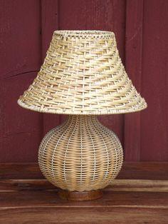 Wicker Table Lamp & Lampshade Lamp Base Handmade MCM