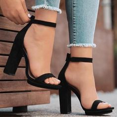 3b8cba067fc Ericdress Plain Buckle Ankle Strap Stiletto Sandals