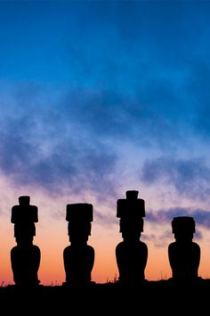 Seven moai (statues) stand silhouetted at the historic site of Ahu Nau Nau on Chile's Easter Island // photo by Eric Lafforgue Educacion Intercultural, Easter Island Moai, Tiki Art, Eric Lafforgue, Around The World In 80 Days, Famous Landmarks, Ancient Aliens, South Pacific, Travel Aesthetic