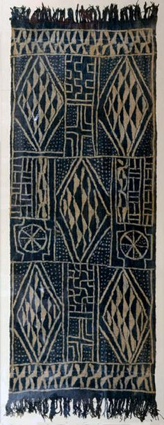 Africa | Ceremonial textile from Cameroon; Hand woven on narrow loom; indigo resist dyed