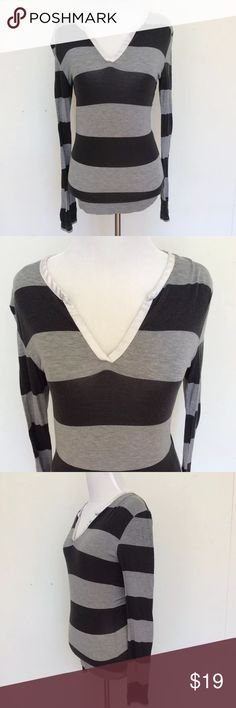 """Victorias Secret Rugby Striped Pajama Top Small Body by Victorias Secret Grey Striped Rugby Sleep Shirt Pajama Top Warm Small  Cute soft and cozy sleep shirt! Long sleeve and very warm. Grey rugby stripes. Has some fading and pilling.  Size: Small Bust (flat): 16"""" - 20"""" Length from shoulder: 23.5""""  94% Model. 6% Spandex.  Please check out my Trixy Xchange eBay Store for more clothing! :) Tags: love pink, sleep, lounge, campus Victoria's Secret Intimates & Sleepwear Pajamas"""