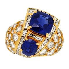 Natural Kashmir Sapphire Diamond Cocktail Ring by M. Gerard French c1970 | From a unique collection of vintage cocktail rings at https://www.1stdibs.com/jewelry/rings/cocktail-rings/