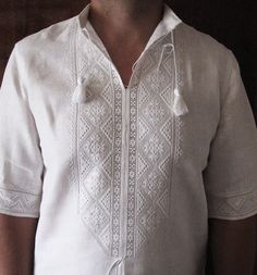 "Hand embroidered blouse ""Reshetylivska vyshyvanka"" for men"