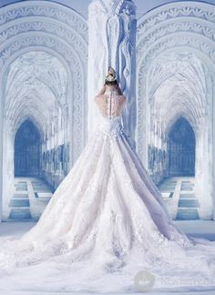 "•Michael Cinco Haute Couture Wedding Dress. •I've taken it upon myself to rename it & refer to it as the ""SNOW QUEEN"" wedding dress. This dress is absolutely amazing! Also, kudos to the photographer & prop designer for the beautiful shot. Finally, a photo that doesn't have the model hunched over (couture) like she has stomach pains!"