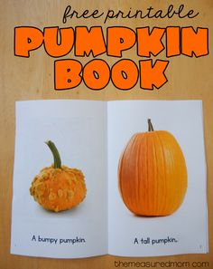 Free printable pumpkin book - The Measured Mom Fall Preschool Activities, Preschool Literacy, Toddler Activities, Free Preschool, October Preschool Themes, Weather Activities, Preschool Books, Halloween Activities, Reading Activities