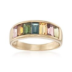 Ross-Simons - 2.30 ct. t.w. Multicolored Tourmaline Ring in 14kt Gold Over Sterling - #821457
