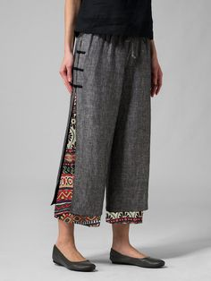 Gorgeous Frog Button Ethnic Print Layered Pants For Women - NewChic Mobile Fashion Pants, Fashion Dresses, Ethnic Print, Creation Couture, Printed Pants, Mode Inspiration, Vintage Prints, Wide Leg Pants, Refashioned Clothes