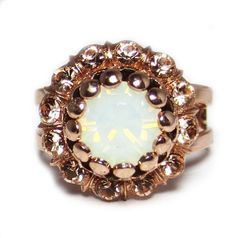 "Rose Gold Plated ""Tiara Day"" Swarovski Crystal Adjustable Flower Dome Ring"