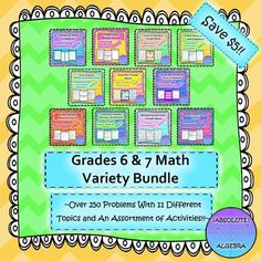 This middle school bundle contains 11 different topics and over 250 questions with a variety of activities to keep students interested and motivated!  They include:  Prime Factorization with Exponents and Notes: Scrambled Answers Activity  Solving Proportion Word Problems: Review Around Activity  Converting Fractions/Decimals/Percents with Notes: Worksheet  and More!