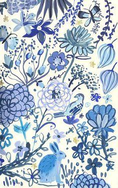 Blue Garden - Archival Print (scheduled via http://www.tailwindapp.com?utm_source=pinterest&utm_medium=twpin&utm_content=post1353631&utm_campaign=scheduler_attribution)