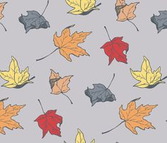 Recovering the rocking chair. falling leaves fabric by magennabrinkprints on Spoonflower - custom fabric