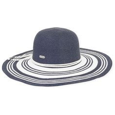 1fb9440d2d188 Sun N Sand Navy Stripe Hat (£29) ❤ liked on Polyvore featuring accessories