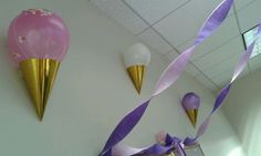 Ice cream cone birthday decor....made out of a party hat, balloon, and ...