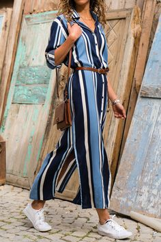 Kadın Lacivert-Çizgili Gömlek Elbise