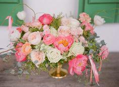 Pink and peach wedding centrepiece florals