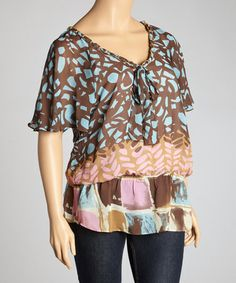 Take a look at this Pink & Brown Angel-Sleeve Top - Plus by Madison Paige on #zulily today!