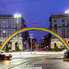 Evening at Hipster Square Rainbow at Saviour's Square, also known as Hispter's Square. Warsaw Poland