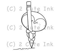 Penguin Doodle 2 Cute Ink Digital Stamp $3.00