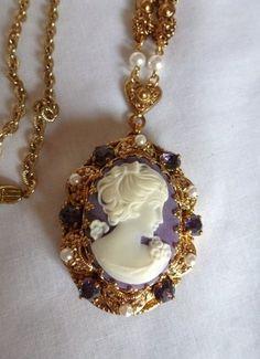 Vintage W. Germany Purple/White Cameo Rhinestone Pendant Necklace