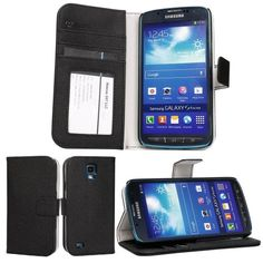 Get it now Abacus24-7 [PocketBook] Vegan Leather Wallet Case Flip Cover for Samsung Galaxy S4 Active I9295 - Black