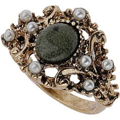 TOPSHOP Pirate Stone Ring ($8) ❤ liked on Polyvore featuring jewelry, rings, accessories, jewels, pirate, green, green stone ring, stone jewellery, green stone jewelry and topshop jewelry