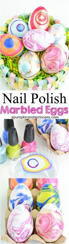 DIY Nail Polish Marbled Eggs