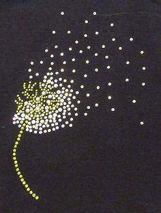 блестящий dandeloin цветок Blowing железа на Hot fix стразами передачи мотив