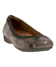 Look at this Cobb Hill Taupe Snake Skin RevChi Leather Flat on #zulily today!
