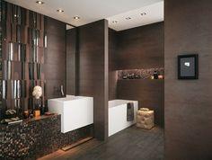 dark brown chocolate brown mosaic effect modern bathroom tiles ideas