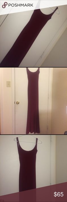 Long very fitting Wine red gown Skin tight, very classy. Worn once. Is a size 0 but I'm a size two so it fit very well. Stretchy material. Mermaid style. Let me tell you this dress gives you curves that you didn't know were there. WINDSOR Dresses Prom