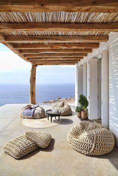 Beanbags by the sea
