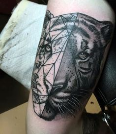 Geometric Tattoos Of Tigers For Men