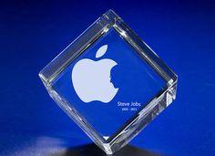 Apple Logo STEVE JOBS Memorial Crystal Cube  https://www.etsy.com/listing/128513986/apple-logo-steve-jobs-memorial-crystal