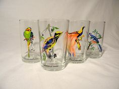 Set of Four Vintage Tropical Bird Glasses by FoolishMagpieFinds, $26.00