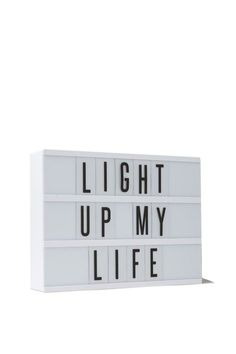light box, WHITE WITH BLACK LETTERS