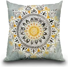 Lilipi Brand Mandala Delight I Yellow Grey Pillow - x Making Throw Pillows, Grey Throw Pillows, Cute Pillows, Throw Pillow Sets, Wool Pillows, Cotton Pillow, Outdoor Throw Pillows, Decorative Throw Pillows, Earth Colour Palette